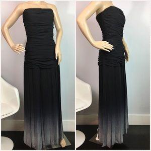 BCBG Black & Gray Strapless Ombré Gown